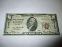 $10 1929 Syracuse New York NY National Currency Bank Note Bill! Ch. #13393 FINE!