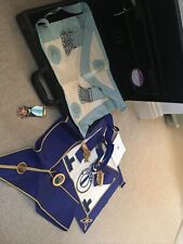 Masonic Case With 2 Aprons, Sash And Medal