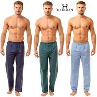 2 Pack Mens Haigman 7090 Lightweight Poly Cotton Pyjama Bottoms Lounge Pants