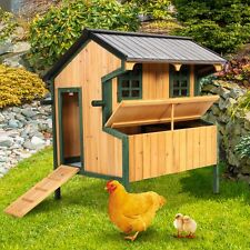 """50"""" Wooden Chicken Coop Hen House Poultry Cage Hutch Nesting Tray Roof"""