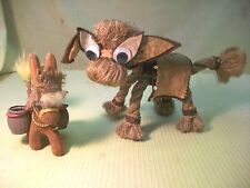2 DONKEYS MULES BURROS HAND MADE W ROPE FELT NICK KNACK FARM ANIMAL COLLECTIBLES