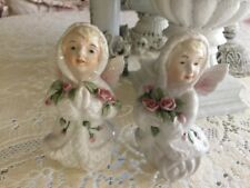 Rare katherine's Collection Christmas Angels Pink Roses Porcelain Figurines Pair