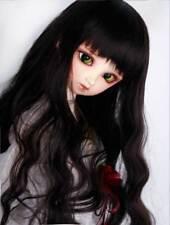 """1/3 8-9"""" BJD Doll Wig Deep Black Curly Curls Wavy Fluffy Hair Long HUAL-52"""