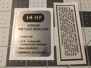 Kohler Engine 14-hp K321 decal Cub Cadet, Wheel Horse black and silver set 2