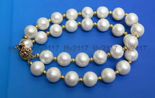 Hot sell! 100% Genuine natural 2 row 10-11mm Japanese perfect Akoya white pearl