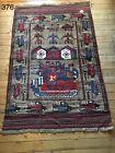 •376• Beautifully Handmade Afghan War Rug  186x124 cm