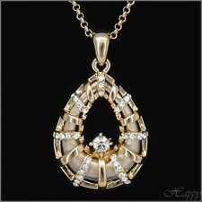 Water Drop Shaped Pendant Necklace Charm Chain Costume Jewelry Gold Tone Clear