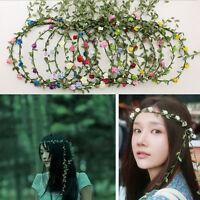 Women's Flower Hairband Headband Crown Hair Wreath Bridal Wedding Long Garland