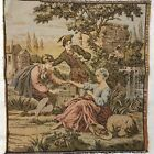 Vintage French Tapestry, Bird, Birdcage, Sheep, Greens, Pink, Brown, Gold