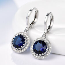 Women Blue/White Swarovski Crystal Silver Dangle Halo Earrings Fashion Jewellery