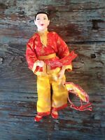 VINTAGE CHINESE MAN DOLL IN TRADITIONAL RED & YELLOW SILK CLOTHES, COMPOSITION