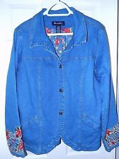Denim & Co Embroidered Jacket-L  Gorgeous matching floral embroidery & lining!