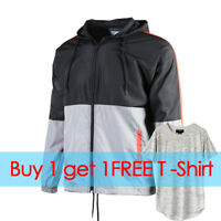 Men's Color Blocked Hooded Lightweight Windbreaker Windproof Jacket Black / Gray