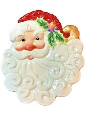 """Fitz And Floyd 2003 Boxed Collectors Series Christmas Santa Canape Plate 9-1/2"""""""