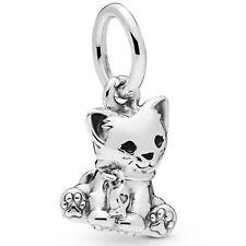 925 Sterling Silver Love Sweet Cat Dangle Charm Bead Fit Snake Bracelet 2019 New