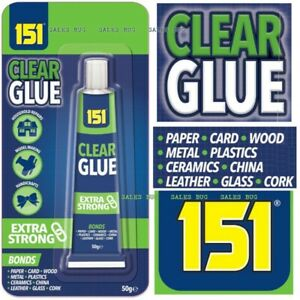 Extra Strong 151 CLEAR Glue 50gm fixing Craft Paper Wood Glass Ceramic Plastic
