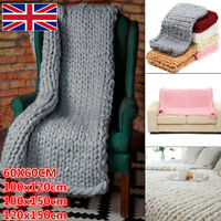 4 Size Chunky Knitted Thick Blanket Handmade Warm Yarn Bulky Throw Bed Sofa