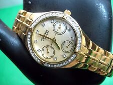 BULOVA CARAVELLE 45N001 LADIES WATCH GOLD PLATED & CRYSTAL MOTHER OF PEARL DIAL