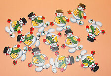 12 Flat Wooden Jolly Christmas Snowman Card Topper Embellishments