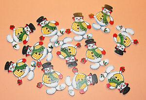 12 Flat Wooden Jolly Christmas Snowman Card Topper Embellishments
