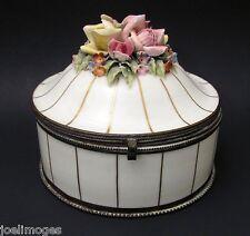 Antique White Porcelain Powder Jar Box Czechoslovakia Applied Roses Early 1900s