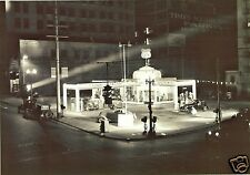 """UNION 76 GAS STATION (OLD SIGN) PHOTO PUMPS NIGHT TIME VIEW 5""""x7"""" b/w"""