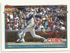 1991 Topps Ryne Sandberg Chicago Cubs #740 Baseball Card