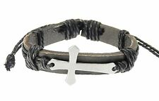 Leather Strap & Cord Bracelet with Metal Cross Crucifix Black Gothic Surfer