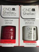 "2CND SHELLAC ""RUBY RITZ"" RED GLITTER +Gold VIP STATUS UV Gel Polish 14+ day Wear"