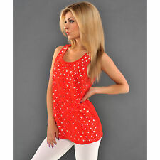 Ärmellose Damen-Shirts aus Polyester ohne Muster