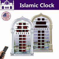 Islamic Mosque Azan Wall Clock Set Calendar Muslim Prayer Ramadan Remote control