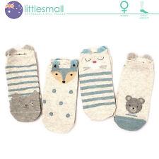 4 Pairs Women Girls Socks Hosiery Ankle Low Cut Animal Bear Cat Fox Dot 3D Cute
