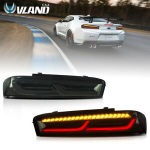 VLAND LED Tail Lights Smoked For Chevrolet Camaro Chevy 2016-2018 LED DRL 1 Pair