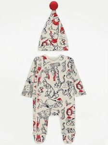 Baby Disney Sleepsuit Christmas Winnie The Pooh Babygrow Hat All In One Xmas Eve