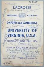 1954 Oxford & Cambridge v. University of Virginia Lacrosse Programme - SIGNED