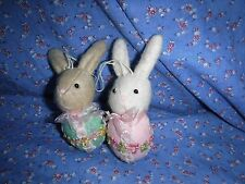 ksm. 2 Cute Easter Ornaments Bunnies in Eggs Pink Green  About 4 3/4 Inch High