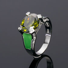 Romantic 925 Silver Oval Shape Green Peridot  Women Wedding Party Ring Size 7