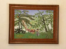 After Henri Rousseau 'EXOTIC MEADOW' Vintage Oil Painting Primitivism