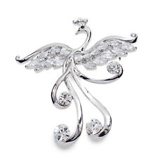 X123 Clear Austrain Crystal White CZ 18K WGP Alloy Phoenix Brooch Pin
