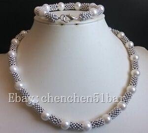 Edelste 10mm weiße Muschelperle Tibet Halskette 18 Zoll Armband 8 Zoll