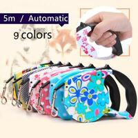 5M Dog Leash Retractable Extending Pet Leashes Dog Collars Lead pink Walking Dog
