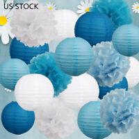 Father's Day Decor Blue White Tissue Pom Pom Paper Lantern Kit Party Wedding US