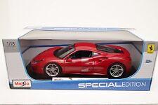 New Maisto 1:18 Scale Diecast Model Car Ferrari 488 GTB (Red) Unopened