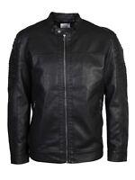 Only & Sons Mens Big King Sizes Faux Leather Biker Black Jacket Sizes 2XL - 6XL