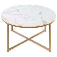 Best Choice Products 36in Faux Marble Modern Living Room Round Accent Side Coffe