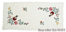 HUNGARIAN hand-embroidered table runner Matyo folk art floral white rectangle