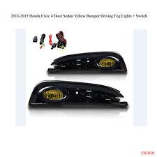 New 2013-2015 Honda Civic 4 Door Yellow Bumper Fog Light Lamps Wiring Kit Switch