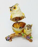 Swarovski Crystal Bejeweled Enamel Hinged Trinket Ring Jewelry Box Owl Figurine