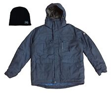 R-Way Boarding Men's Winter Snow Jacket Coat Dusk Blue + Black Beanie Hat, Large