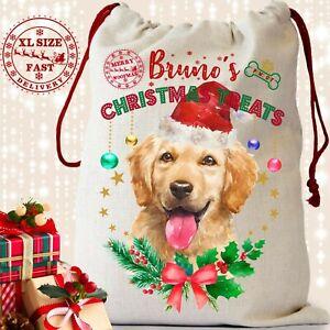 Personalised Christmas Sack Labrador Dog Treat Bag Pet Large Xmas Stocking Gift